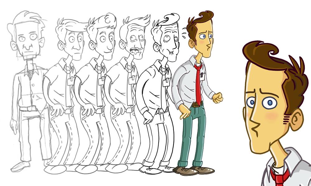 Steve, FreudBots Patient und Held des Spiels: zeichnungen von Gregor uns Sebastian