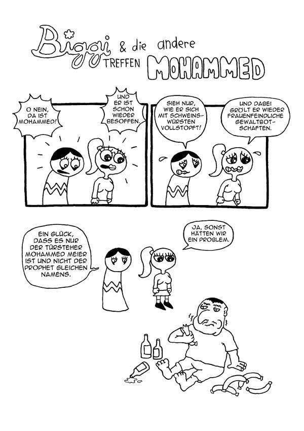 Webcomic - Biggi und die andere treffen Mohammed